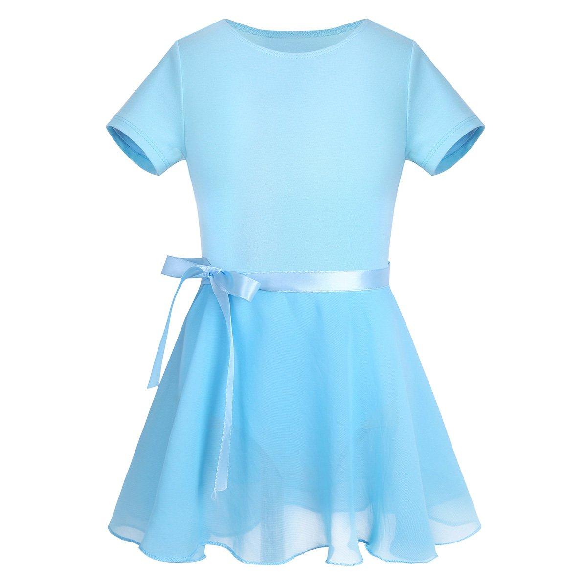 TiaoBug Girls Kids Cotton Ballet Tutu Dress Gymnastics Leotard Bodysuit with Chiffon Wrap Skirt Dance Costume