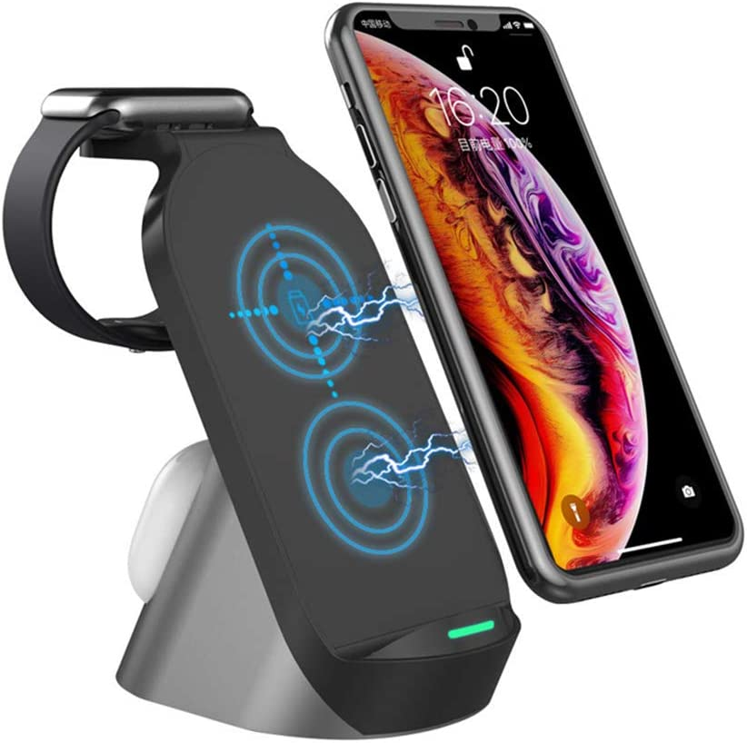 Wireless Charger 3 in 1 Wireless Charging Station Fast Charger Stand Charging Dock for Apple Watch Series 6 5 4 3 2, Airpods Pro/2, iPhone 12/11 Pro Max/11 Pro/11/X/Xr/Xs/8 Plus, Qi-Certified Phones