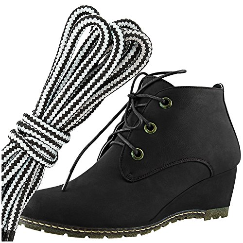 Dailyshoes Femmes Mode Lace Up Bout Rond Cheville Haute Oxford Wedge Bootie, Blanc Noir Pu