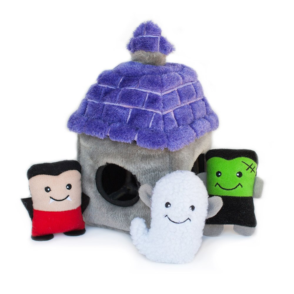 ZippyPaws - Holiday Burrow, Interactive Squeaky Hide and Seek Plush Dog Toy - Haunted House by ZippyPaws