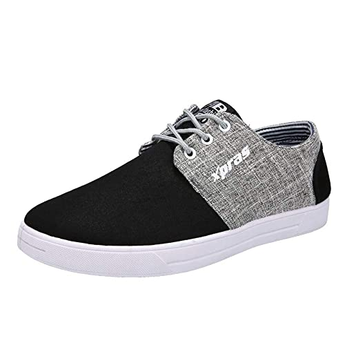 BaZhaHei Men Casual Shoes Breathable Flat Shoes Sports Shoes Student Canvas  Shoes Lace-up Running 8c8642276a57