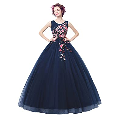 Bride Dress Wedding Gowns Navy Blue Embroidery Lace Net Round Neck ...