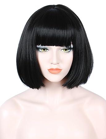Amazon.com  Linfairy Short Black Bob Wig Halloween Cosplay Costume Wig for  Women Fluffy  Beauty 9b09ff93e1a8