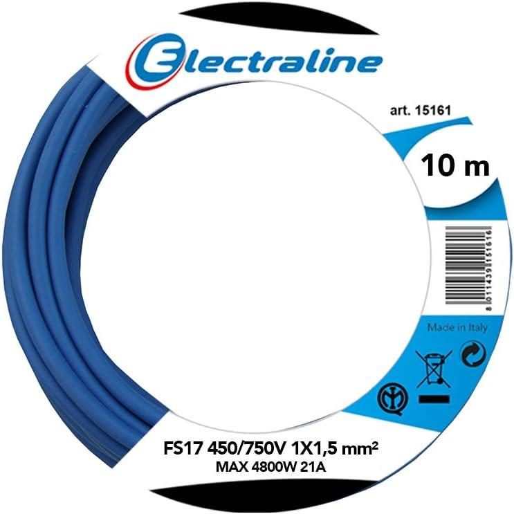Electraline 13091Cable unipolar FS17, sección 1x 1.5mm², Azul, 10m