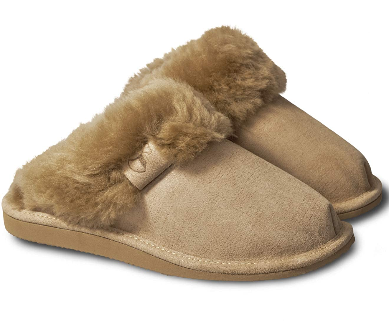 817330b3b359 ESTRO Sheepskin Womens Slippers Ladies Wool - Leather Mule Boots Slides  Warm Fleece Fur Fluffy Booties Intimo  Amazon.co.uk  Shoes   Bags