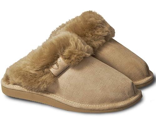 be2f44bd92a ESTRO Sheepskin Womens Slippers Ladies Wool - Leather Mule Boots Slides  Warm Fleece Fur Fluffy Booties