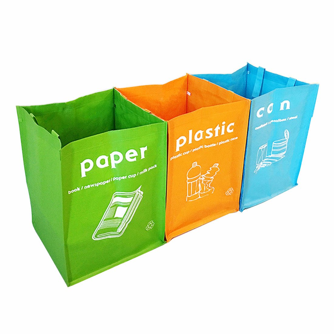 Waterproof Separate Recycle Bag Waste Baskets 3 Set(3 Colors) GARASANI