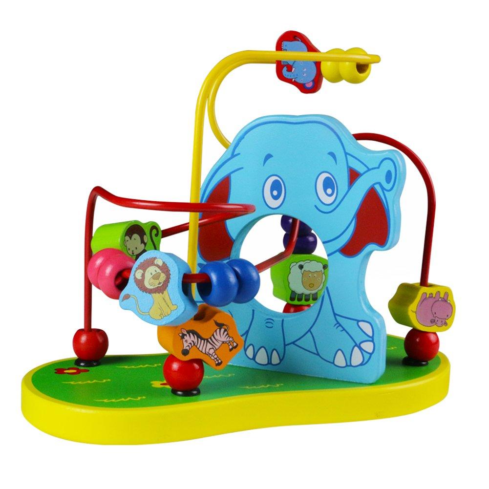 Yoptote Holzspielzeug Perlen-Labyrinth Roller Coaster Spiel Motorikschleife aus Holz Für Kinder ab 3 Jahren (Elephant Beads Maze) Lihao Gongyi Factory TT-RZ-2