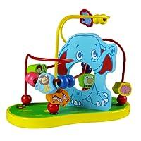 yoptote Giochi Elefante Bead Maze Legno Classico Roller Coaster Puzzle per Bambini (Style A)