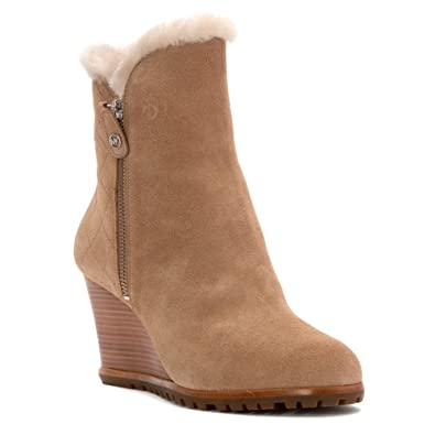 MICHAEL Michael Kors Women's Whitaker Wedge Boot Dark Khaki Sport Suede/Real  Shearling Boot