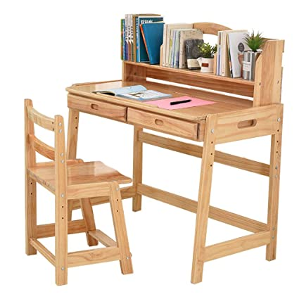 Amazon.com: Table & Chair Sets Childrens Study Table liftable Solid ...