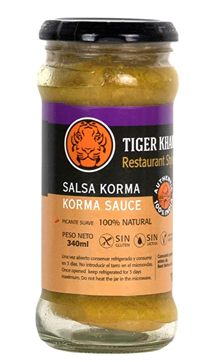 Tiger Khan Salsa Asiática India Korma - 340 gr: Amazon.es: Alimentación y bebidas