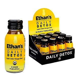 Ethan's Daily Detox Shot, Ginger Pineapple Flavor, ACV Supplement, Organic Apple Cider Vinegar Shots, Natural Body Juice Cleanse, Digestion Support Supplement, Gluten Free (12 Pack of 2oz Shots)