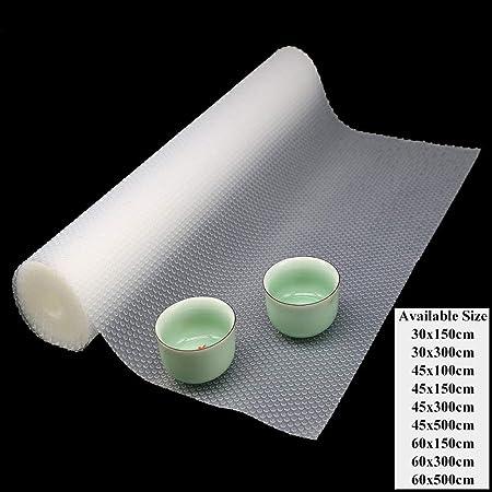 Hersvin 45x300cm Alfombra Antideslizante de EVA para Cajon, No Adhesivo, Impermeable Antibacteriano Proteger Estantes, Cocina Gabinete, Refrigerador, ...