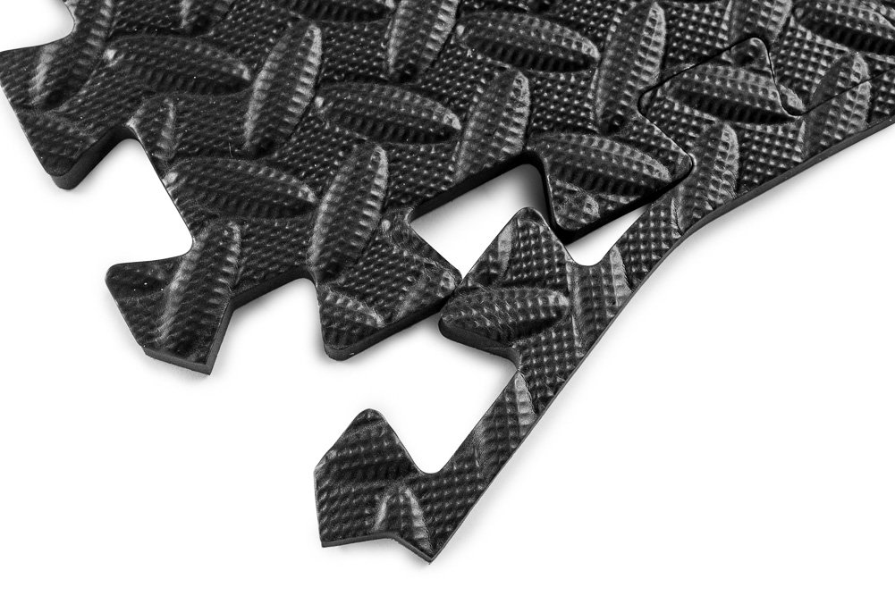 HemingWeigh Puzzle Exercise Mat EVA Foam Interlocking Tiles and Protective Flooring for Gym Equipment and Protective Flooring for Gym Equipment Provides Extra Cushion for Your Exercise Workouts Black 24 Square Feet