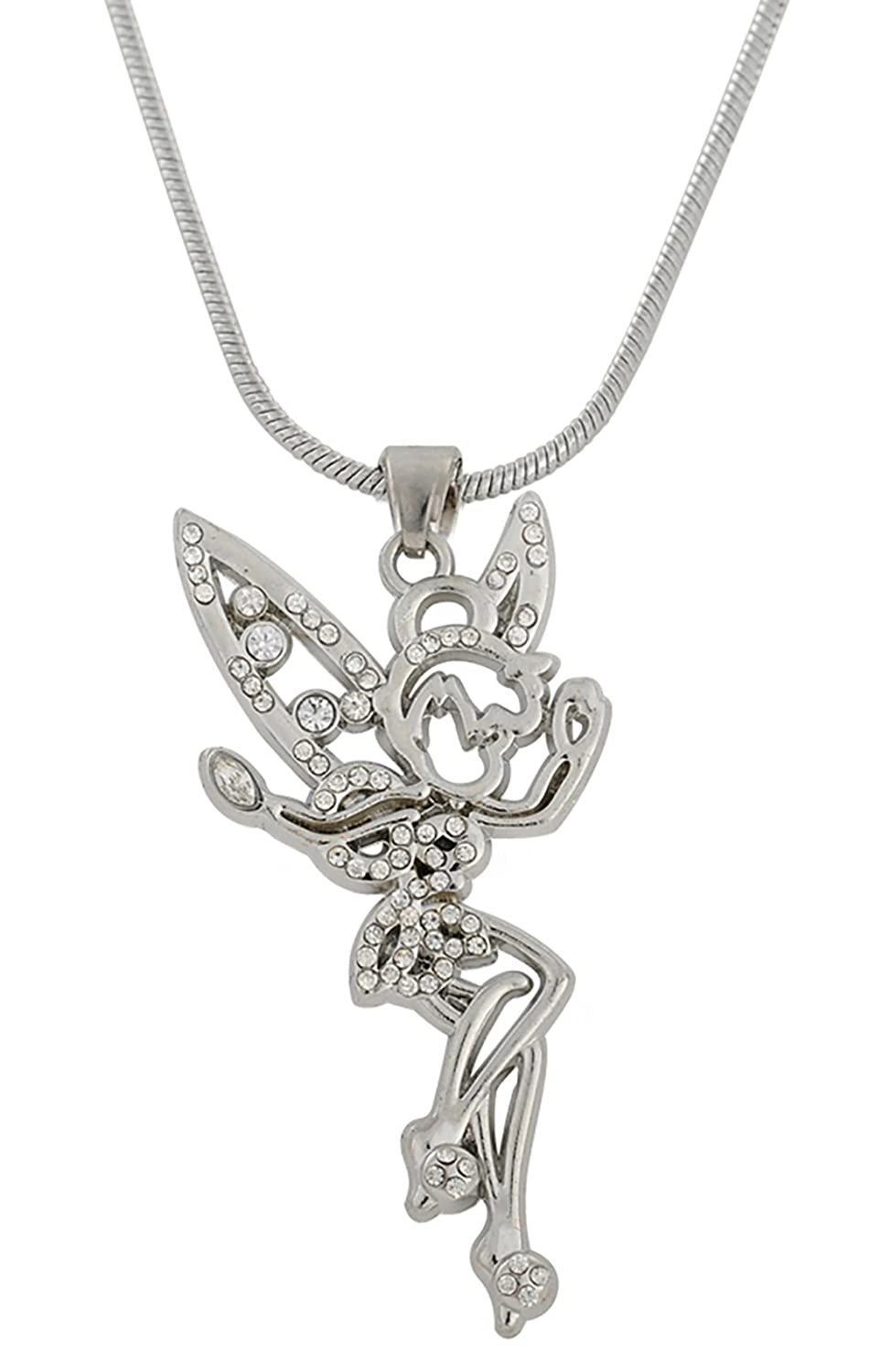 Adorable Tinkerbell Fairy Angel With Crystal Wings Pendant Necklace For Teen Girls&Wowen BiChuang