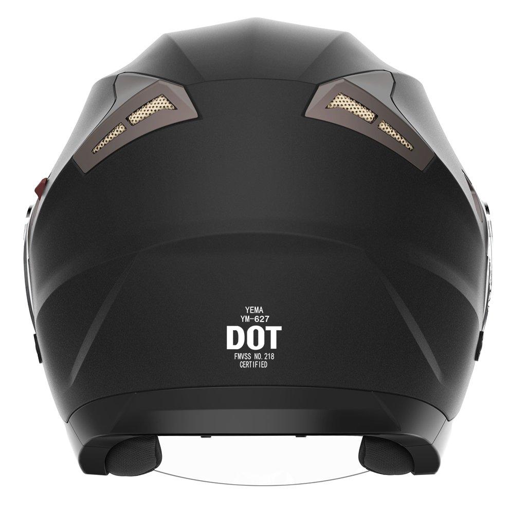 Motorcycle Open Face Helmet DOT Approved YEMA YM-627 Motorbike Moped Jet Bobber Pilot Crash Chopper 3//4 Half Helmet with Sun Visor for Adult Men Women Matte Black,Small