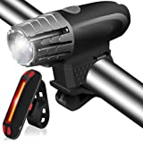 Actionpie USB Rechicycle Headlight FREE TAIL LIGHT with Repair Tool 2 pcs ,LED Front and Back Rear Lights Easy To Install for Kids Men Women Road Cycling Safety Flashlight