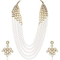 Aheli Elegant Indian Ethnic Traditional Layered Beaded Long Kundan Necklace Earring Set Bollywood Wedding Party Jewelry…