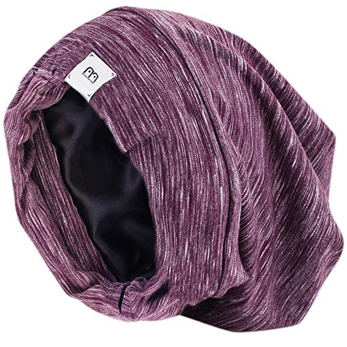 YANIBEST Extra Large Adjustable Satin Lined Slouchy Beanie Sleep Cap for Dry Hair and Curly Hair Stay on All Night 2020 (one Size, Purple)
