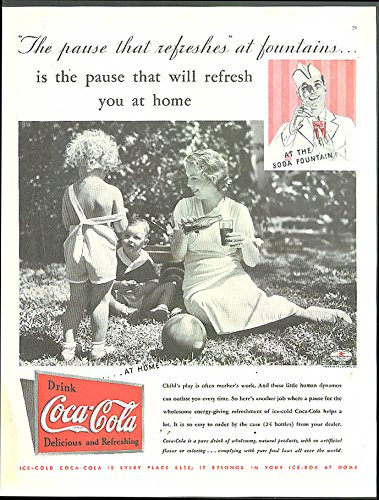 Coke Refresh Fountain (Pause that refreshes at fountains & at home Coca-Cola ad 1935)