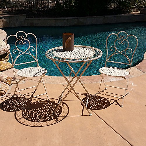 Modern Home Marseille Antiqued Iron 3pc Folding Bistro Set