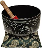 Tibetan Buddhist Singing Bowl with the Image of Buddha and Auspicious Symbols - Aluminium
