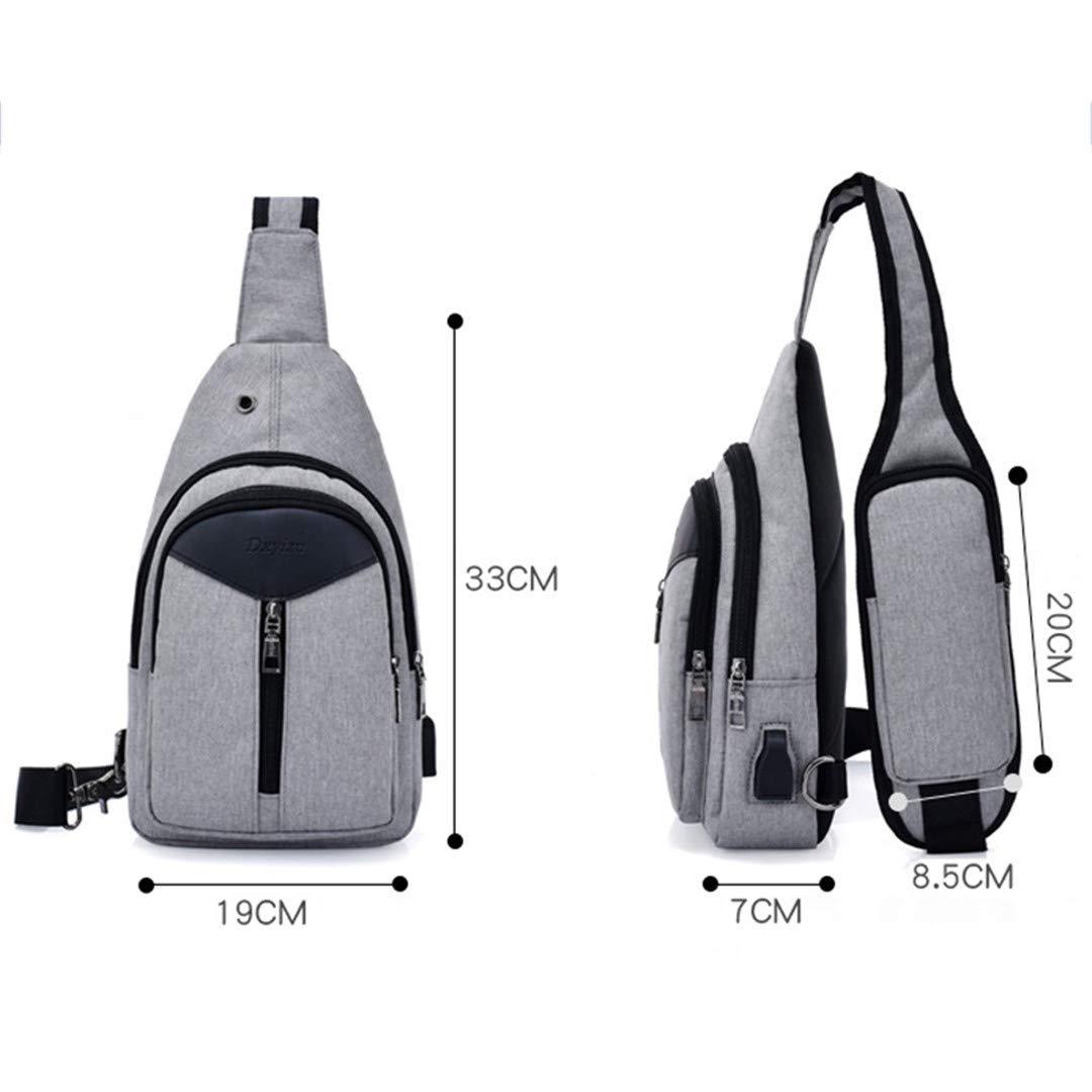 Canvas Chest Pack Men Messenger Bags Casual Travel Shoulder Strap Back Bags Purple 19x33x7CM