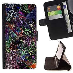 Momo Phone Case / Flip Funda de Cuero Case Cover - Patrón lsd psicodélico;;;;;;;; - Samsung Galaxy S5 V SM-G900