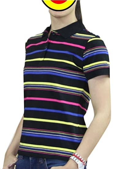dc0272e1d39 ainr Women s Leisure Athletics Striped T-Shirt Tops 2 Button Golf Polo Shirt