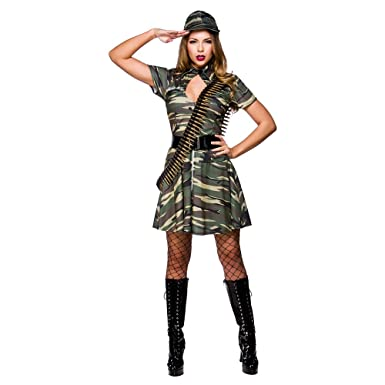 Womens Army Costume Ladies Armed Forces Military Fancy Dress