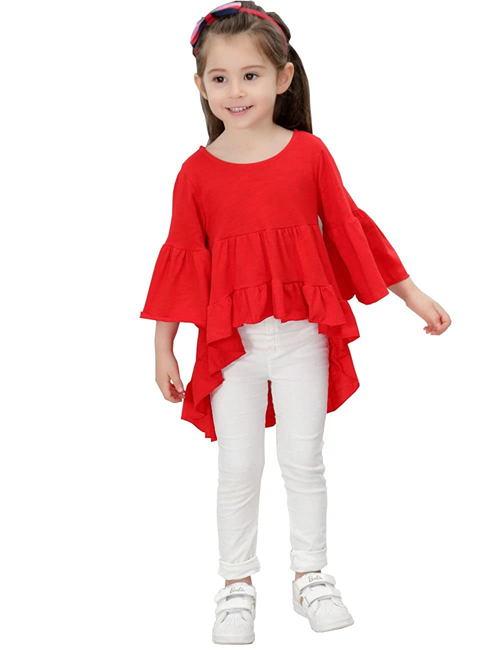 21KIDS Girls Loose Trumpet Sleeves Cotton Asymmetrical Flounces Boho Christmas Blouse Dress 3T-11 24749-8789