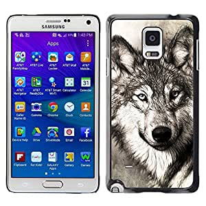 Super Stella Slim PC Hard Case Cover Skin Armor Shell Protection // M00105111 Wolf Portrait Head Predator Canidae // Samsung Galaxy Note 4 IV