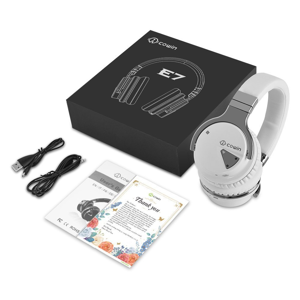 COWIN E7 Wireless Bluetooth Headphones with Mic Hi-Fi Deep Bass Wireless Headphones Over Ear, Comfortable Protein Earpads, 30 Hours Playtime for Travel Work TV Computer Phone - White by cowin (Image #9)