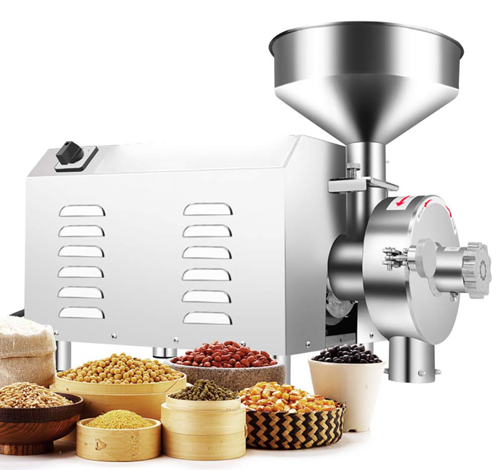 NEWTRY SY-1200 Commercial Superfine Grain Grind Mill Stainless Steel Multi Function Oily Materials Powdering Machine Dry Grinder Grinding Mill Pulverizer 1.1KW for Dry Chinese Herbs and Grains (110V)