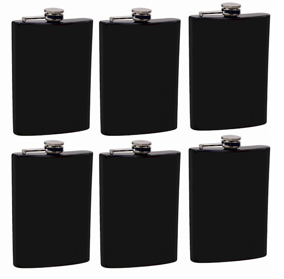 Gifts Infinity Set of 6 8oz Black Stainless Steel Groomsman, Bridesmaid Flask