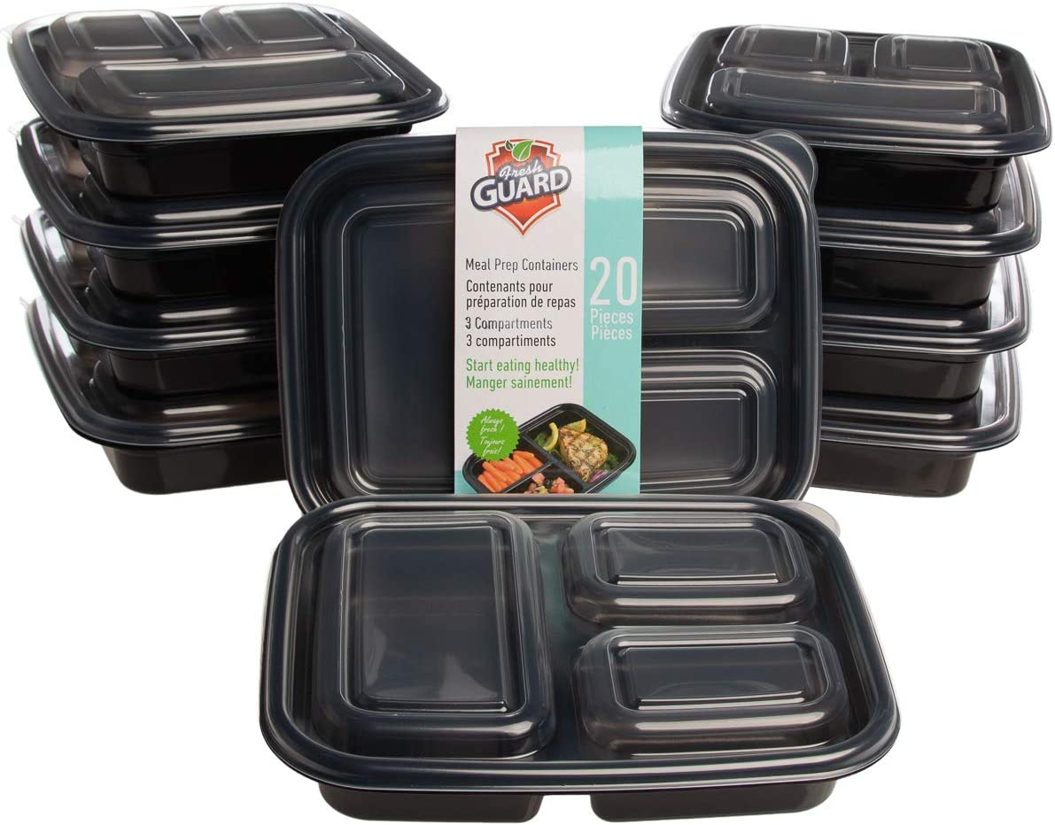 Fresh Guard 10 Pack (20 Pieces Total) Meal Prep Containers 3 Compartment Food Storage Containers With Lids BPA Free Reusable Microwaveable