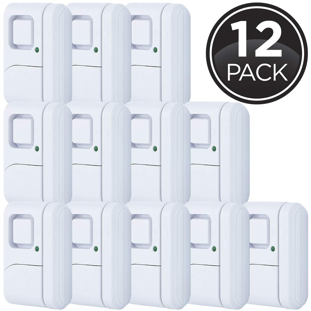 GE Personal Security Window/Door, 12-Pack, DIY Protection, Burglar Alert, Magnetic Sensor, Off/Chime/Alarm, Easy Installation, Ideal for Home, Garage, Apartment, Dorm, RV and Office, 45989, White by GE