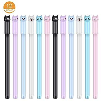 12 bolígrafos de gel de 0,38 mm para gatos, bolígrafos de punta de bola negra para escuela, oficina, suministros para niños y niñas: Amazon.es: Oficina y ...
