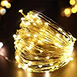 bright zeal 33 ft warm white led string lights battery operated christmas lights silvery wire 6hr timer christmas tree lights home decor fairy - Gold Christmas Tree Lights
