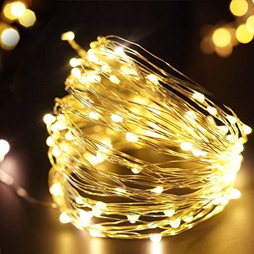 Bright Zeal 33' FT Warm White LED String Lights Battery Operated Firefly Lights (Silvery Wire, 6hr Timer) - Seasonal Decor Lights - Lighted Garland with Lights - Home Decor Fairy Lights