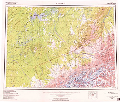 YellowMaps Mount McKinley AK topo map, 1:250000 Scale, 1 X 3 Degree, Historical, 1969, Updated 1970, 22.3 x 26.3 in - Tyvek