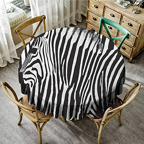 familytaste Picnic Circle Table Cloth Zebra Print Decor Collection,Zebra Design with Animal Blended Over Itself to Create an Abstract Pattern,Black White D 70