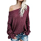 Exlura Women's Off Shoulder Batwing Sleeve Loose Oversized Pullover Sweater Knit Jumper,Wine Red,XL/2XL(12/14)