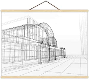 Wireframe Drawing of an Office Building Plan - Document,Magnet Print Poster Architecture for Home 12''W x 8''H