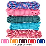 West Coast Paracord Zesty 550lb Survival Paracord Random Combo Crafting Kit 10 Colors of 500lb Cord & 10 Free Buckles - Type III Paracord - Make 10 Paracord Bracelets-Great Gift