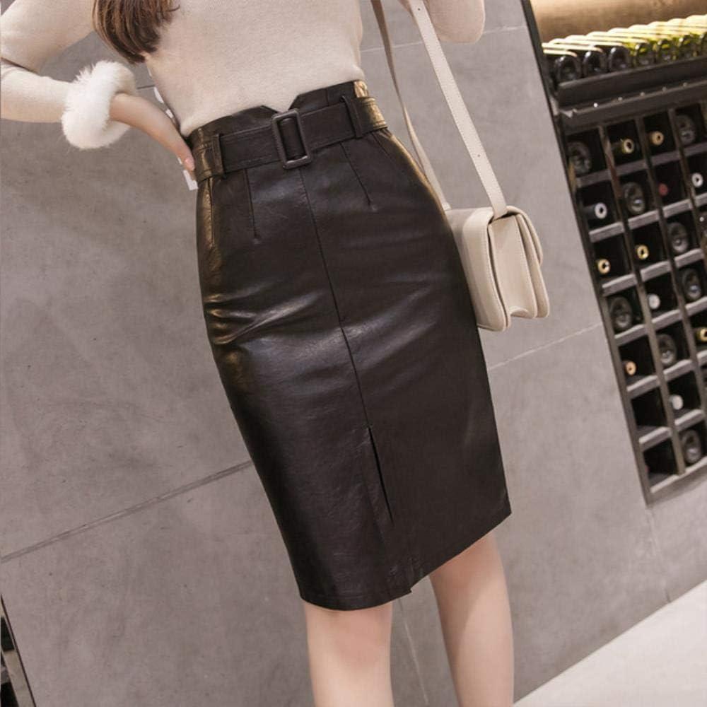 KWHY Faldas Elegantes a Media Pierna con lápiz Faldas de Cintura Alta de Cuero de PU Negro con cinturón Mujer, Negro, XL