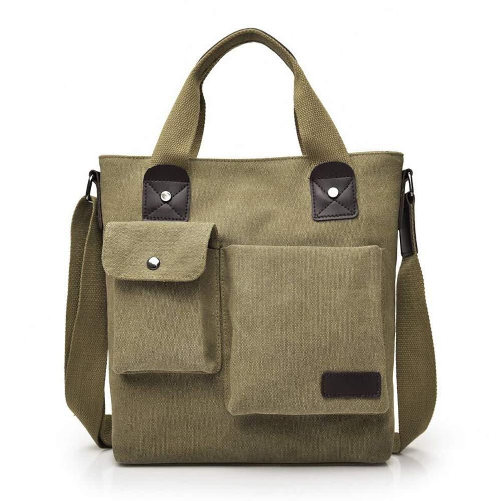 Mens Bag Messenger Bag Canvas Shoulder Bags Travel Bag Man Purse Crossbody Bags for Work Business Khaki