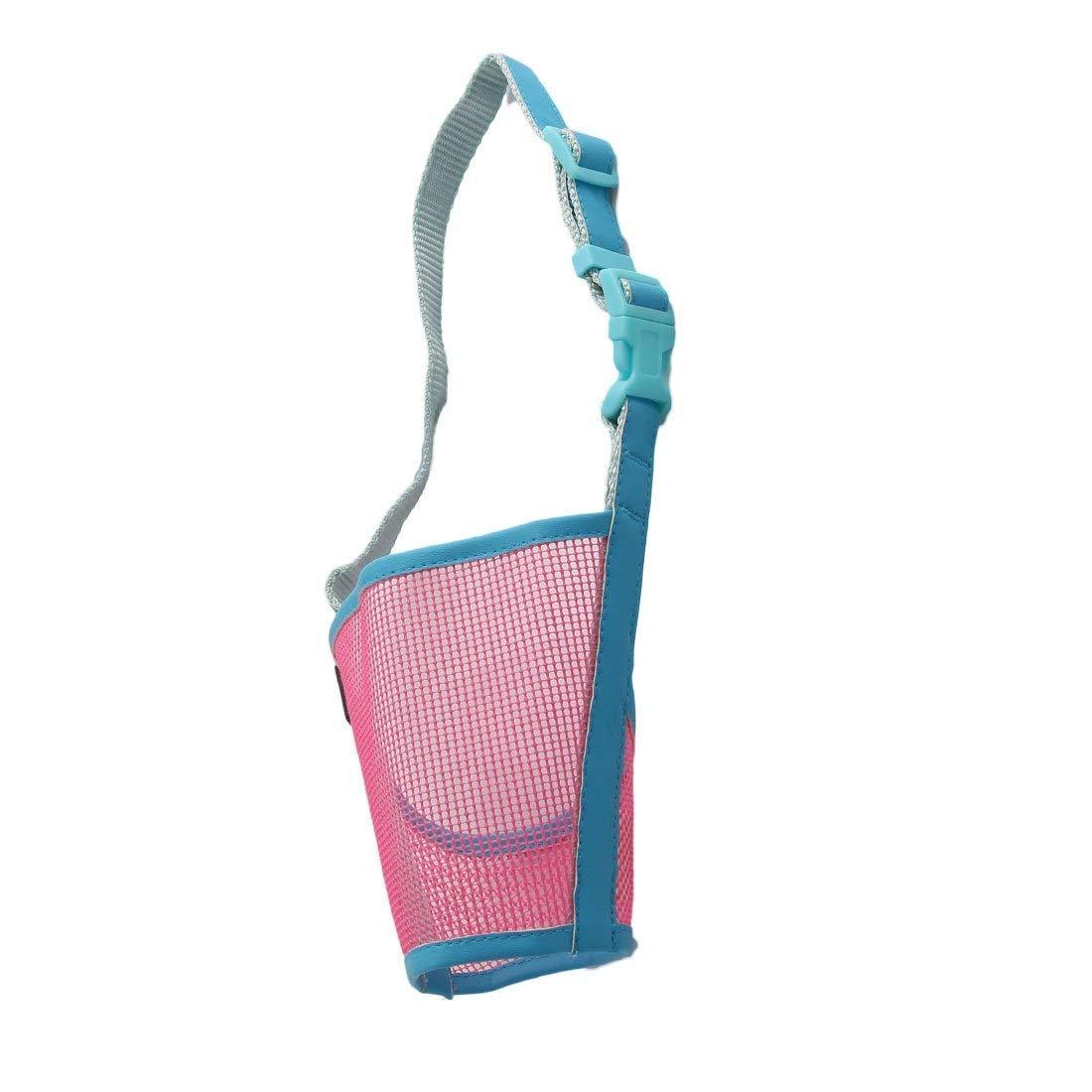 1Pc Plastic Dog Puppy Adjustable Strap Anti Bite Mouth Mask Muzzle Guard Size XXL Pink bluee