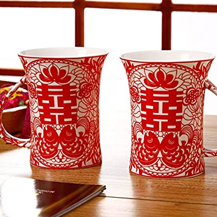 Chinese wedding gifts double happiness paper cut ceramic water cup chinese wedding gifts double happiness paper cut ceramic water cup couple cup wedding decorations junglespirit Gallery